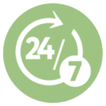 green icon with 24/7 and circular motion arrow