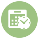 green icon with calendar and clock
