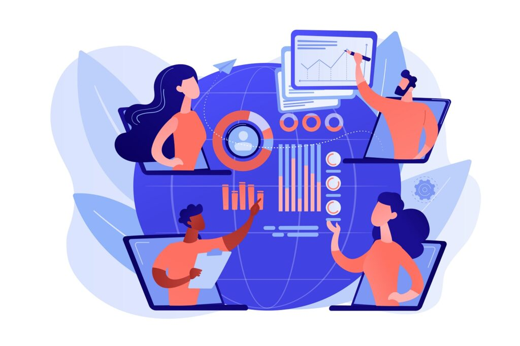 abstract art image of people at desk with graphs