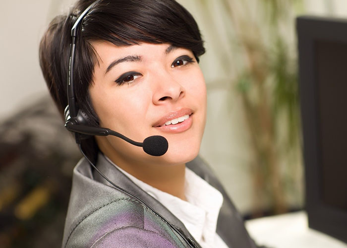 ethnic woman in headset