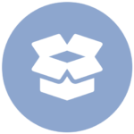 blue icon with open box