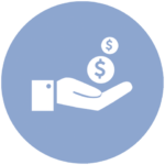 blue icon with hand holding out dollar signs