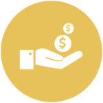 yellow icon with hand holding dollar signs