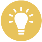 gold icon with lightbulb