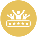 yellow icon with 5 stars and cheering people