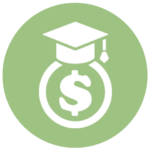 green icon with dollar sign and graduation cap