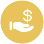 gold icon with hand holding out dollar sign