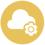 gold icon with cloud and gear