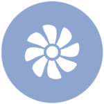 blue icon with fan