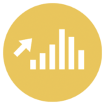 gold icon with bar graph and up arrow