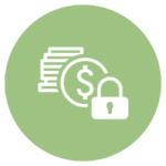 green icon with dollar sign and lock