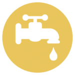 gold icon with a faucet and dripping water