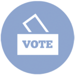 """blue icon with a ballot box that says """"vote"""""""
