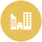 gold icon with various building types from homes to skyscrapers