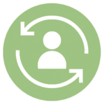 green icon with user with circular arrows