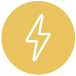 gold icon with lightning bolt