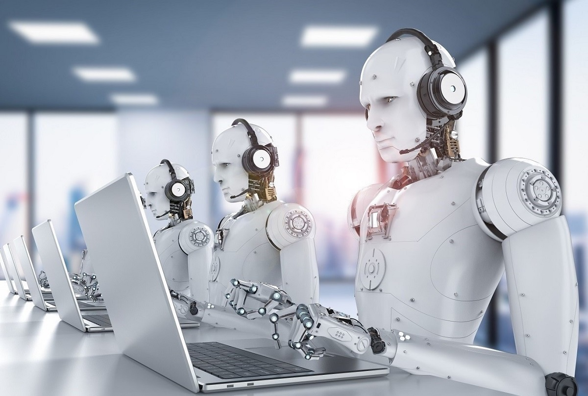 robots with call center headsets lined down table