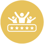 gold icon with cheering people and five stars