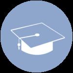 blue icon with graduation cap