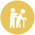 gold icon with person helping elderly with cane