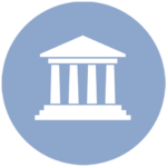 blue icon with courthouse columns
