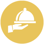 gold icon with hand holding food tray with lid