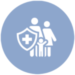 blue icon with family and medical shield