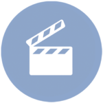 blue icon with clapperboard