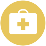 yellow icon with medical case