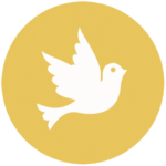 yellow icon with flying dove