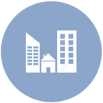 blue icon with skyscrapers and a house