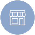 blue icon with store front