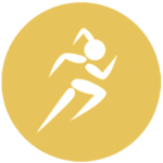 yellow icon with running woman