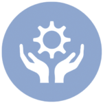 blue icon with hands holding up gear