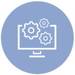 blue icon with computer screen and gears