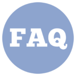 blue icon with the letters FAQ