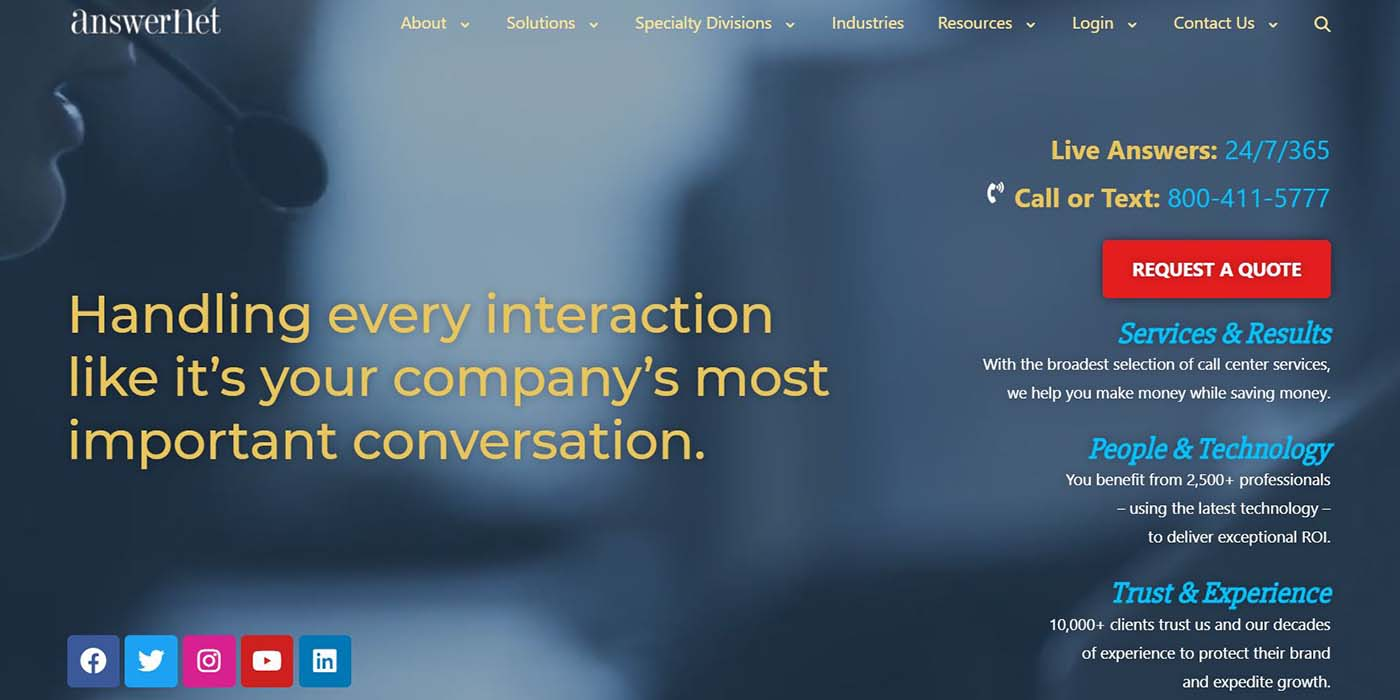 screen shot of new answernet homepage