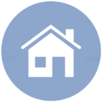 blue icon with house