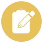 gold icon with pencil and clipboard