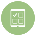 green icon with tablet and check boxes