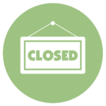 green icon with closed sign