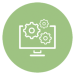 green icon with computer screen and gears