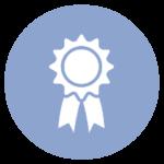 blue icon with award ribbon