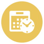 yellow icon with calendar and clock