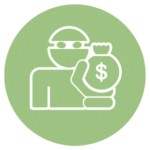 green icon with robber and bag of money