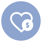 blue icon with heart and dollar sign