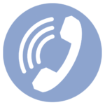 blue icon with telephone and soundwaves