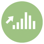 green icon with bar graph and up arrow
