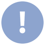 blue icon with exclamation point