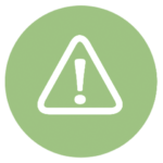 green icon with exclamation point inside triangle
